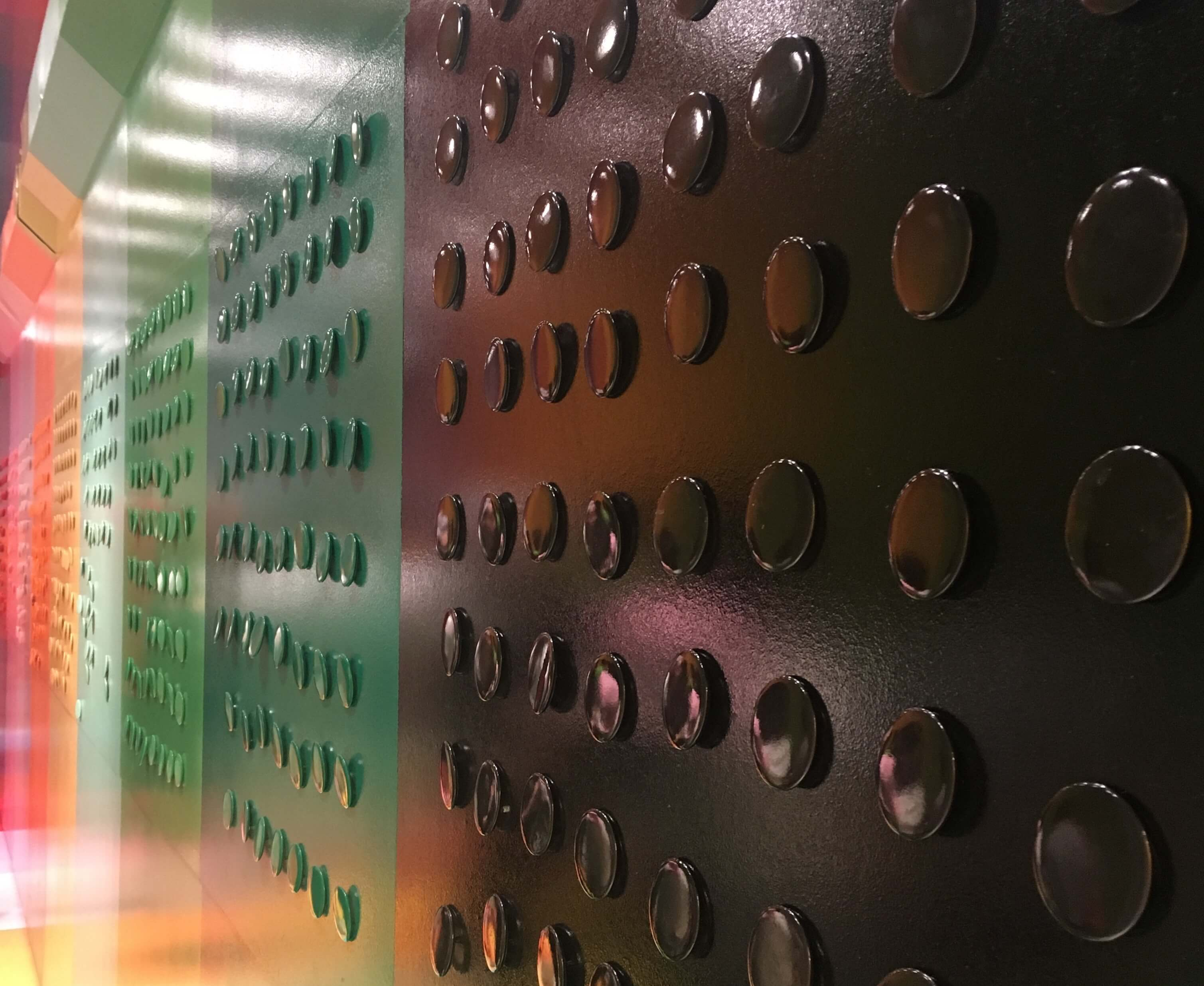 color factory wall of buttons